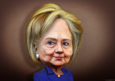Hillary-Clinton-donkeyhotey-brown-background